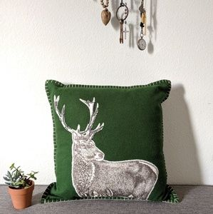 Threshold Green Wool Buck Stag Pillow